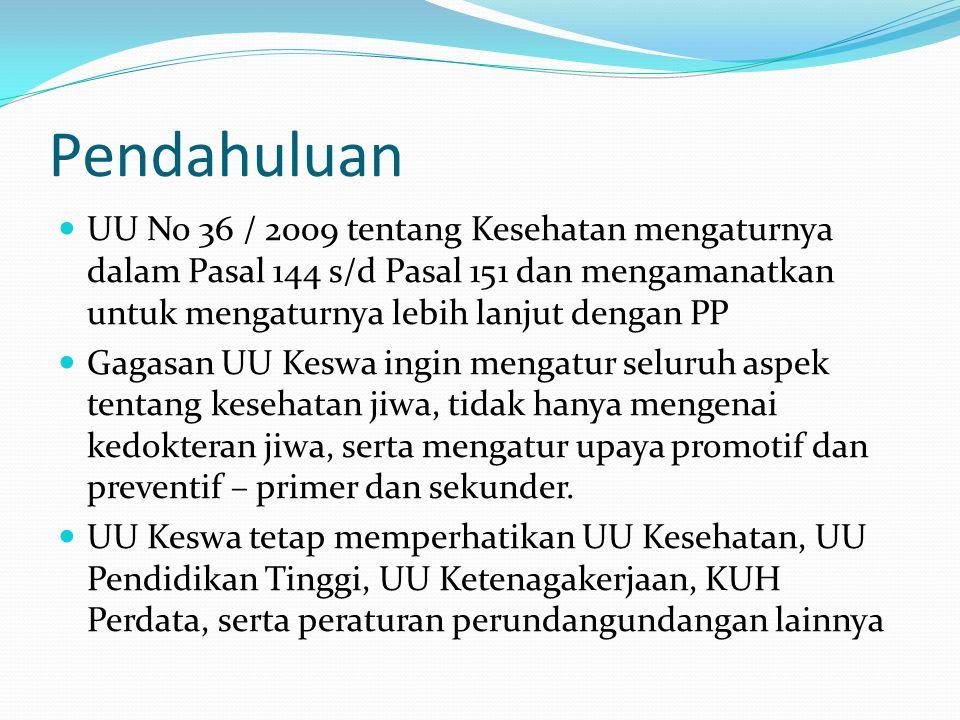 Pendahuluan UU No 36 / 2009 tentang Kesehatan mengaturnya dalam Pasal 144 s/d Pasal 151 dan mengamanatkan untuk mengaturnya lebih lanjut dengan PP Gag