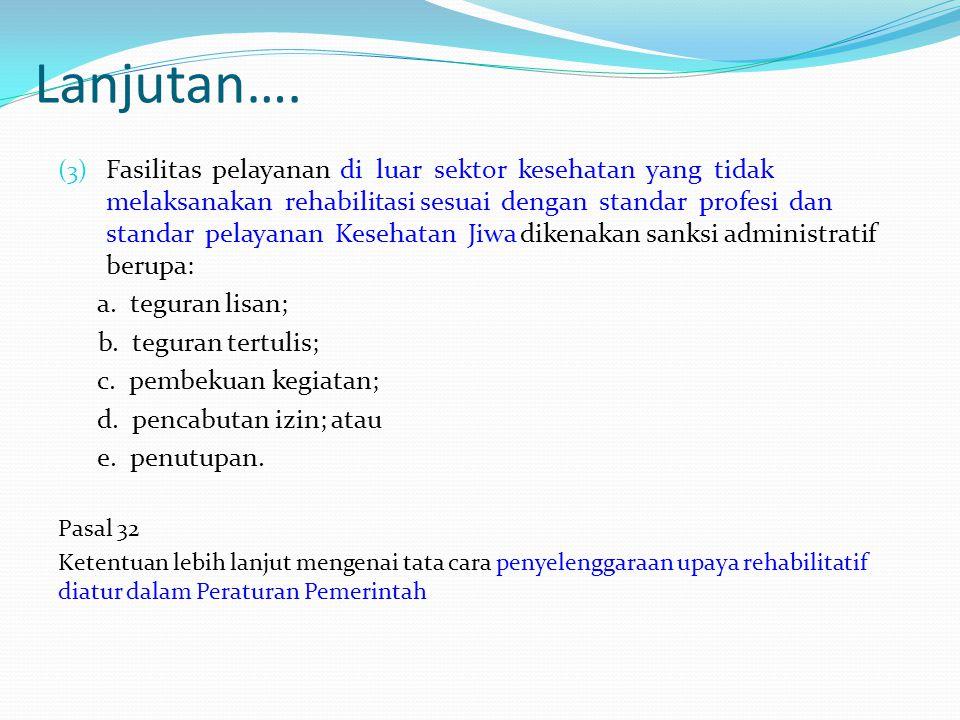 Lanjutan…. (3) Fasilitas pelayanan di luar sektor kesehatan yang tidak melaksanakan rehabilitasi sesuai dengan standar profesi dan standar pelayanan K