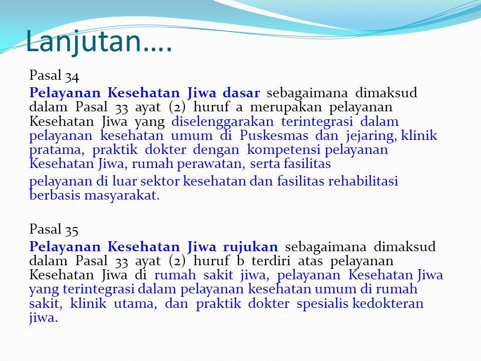 Lanjutan…. Pasal 34 Pelayanan Kesehatan Jiwa dasar sebagaimana dimaksud dalam Pasal 33 ayat (2) huruf a merupakan pelayanan Kesehatan Jiwa yang disele