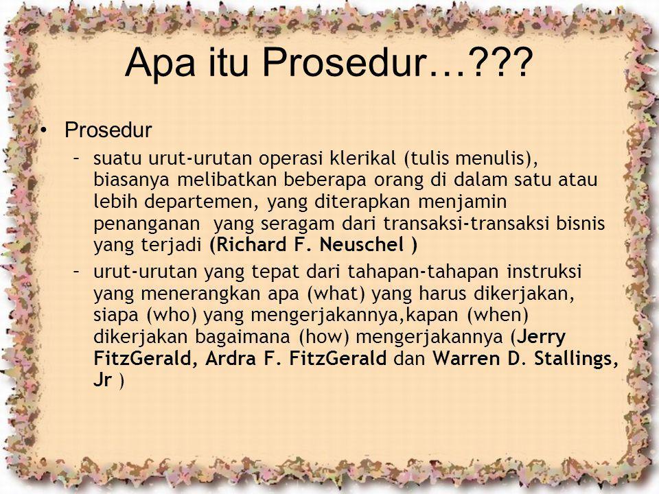 Apa itu Prosedur…??? Prosedur –suatu urut-urutan operasi klerikal (tulis menulis), biasanya melibatkan beberapa orang di dalam satu atau lebih departe
