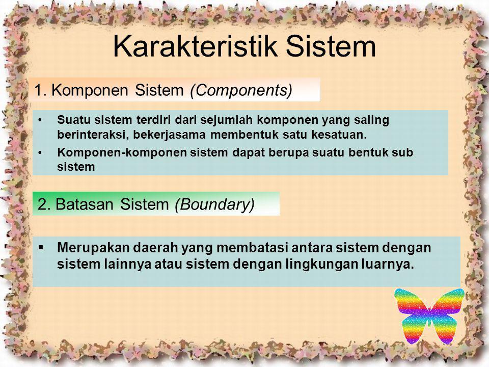 Karakteristik Sistem 1. Komponen Sistem (Components) Suatu sistem terdiri dari sejumlah komponen yang saling berinteraksi, bekerjasama membentuk satu
