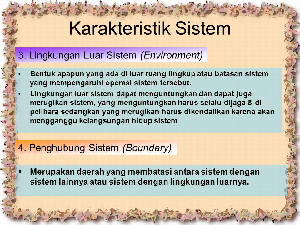 Karakteristik Sistem 3. Lingkungan Luar Sistem (Environment) Bentuk apapun yang ada di luar ruang lingkup atau batasan sistem yang mempengaruhi operas