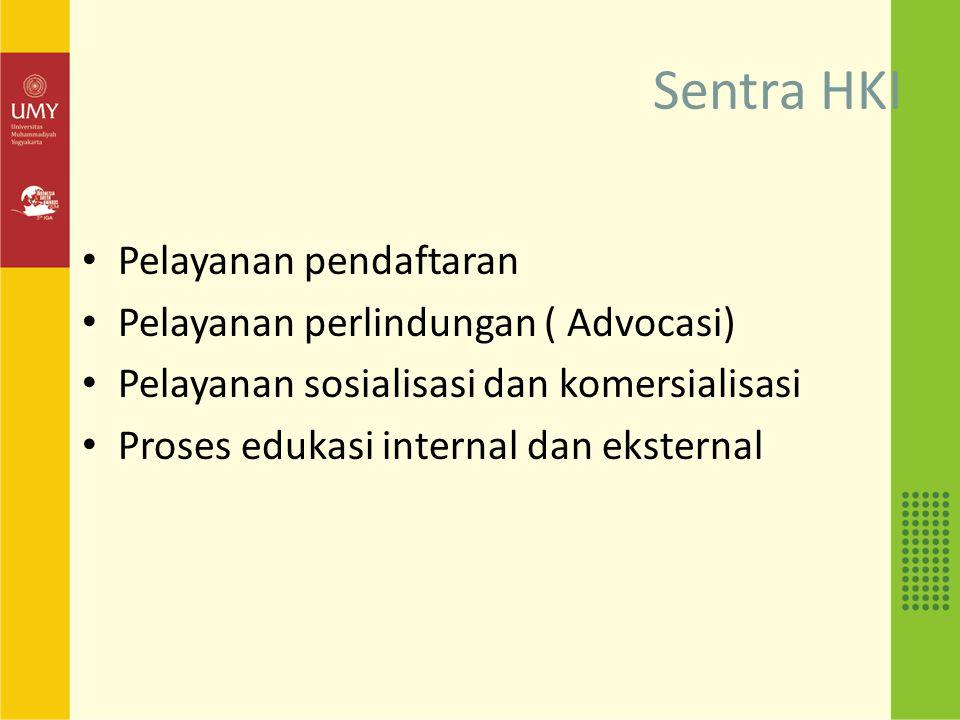 Sentra HKI Pelayanan pendaftaran Pelayanan perlindungan ( Advocasi) Pelayanan sosialisasi dan komersialisasi Proses edukasi internal dan eksternal