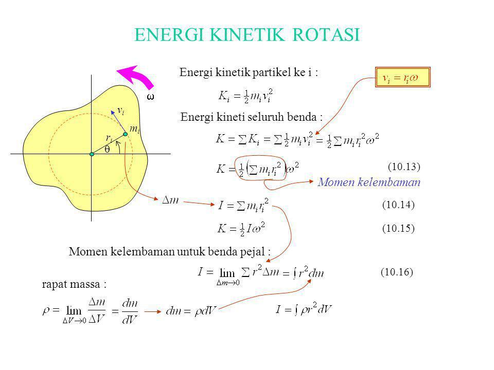 ENERGI KINETIK ROTASI  riri mimi vivi  Energi kinetik partikel ke i : Energi kineti seluruh benda : Momen kelembaman (10.13) (10.14) (10.15) Momen k