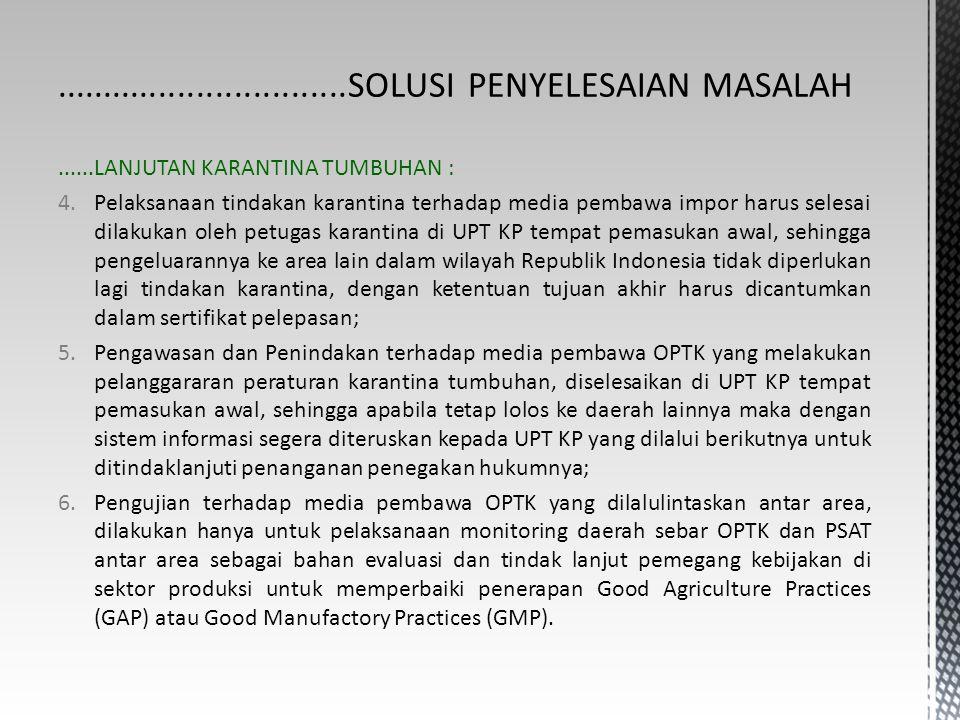 ......LANJUTAN KARANTINA TUMBUHAN : 4.Pelaksanaan tindakan karantina terhadap media pembawa impor harus selesai dilakukan oleh petugas karantina di UP