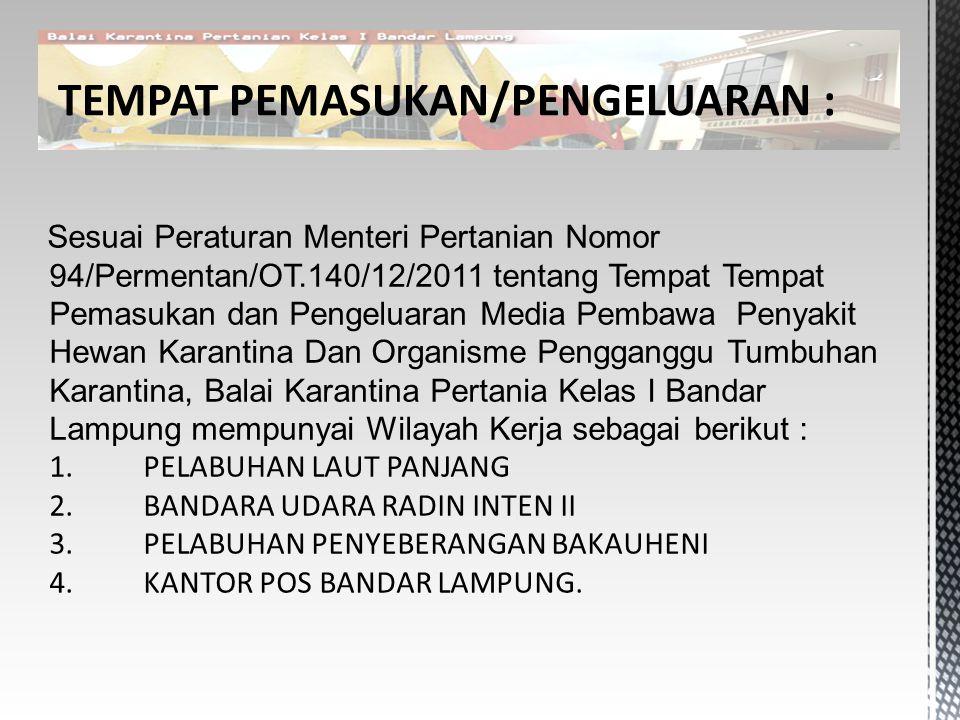 TEMPAT PEMASUKAN/PENGELUARAN :