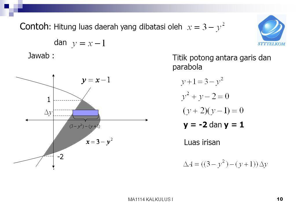 MA1114 KALKULUS I 9 c). Misalkan daerah h(y) g(y) c d D Luas D = ? Langkah : 1.Iris D menjadi n bagian dan luas satu buah irisan dihampiri oleh luas p