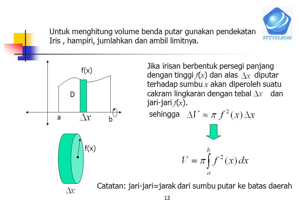 MA1114 KALKULUS I12 7.2 Menghitung volume benda putar 7.2.1 Metoda Cakram a. Daerah diputar terhadap sumbu x a b f(x) D Benda putar Daerah D ? Volume