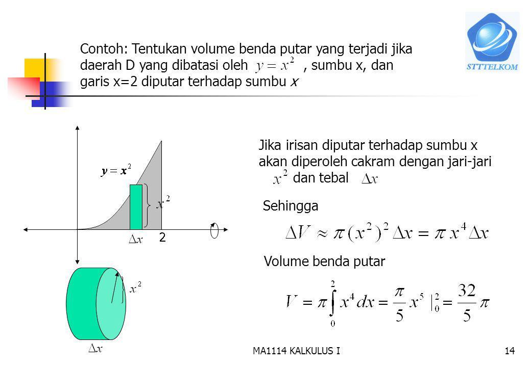 13 a b f(x) D Untuk menghitung volume benda putar gunakan pendekatan Iris, hampiri, jumlahkan dan ambil limitnya. Jika irisan berbentuk persegi panjan