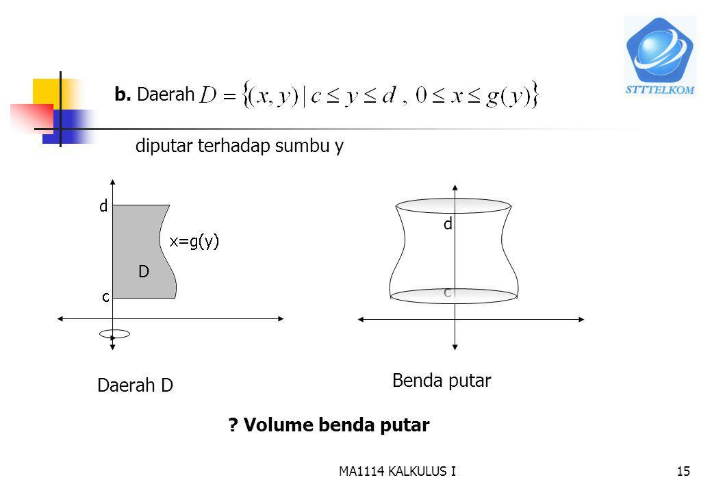 MA1114 KALKULUS I14 Contoh: Tentukan volume benda putar yang terjadi jika daerah D yang dibatasi oleh, sumbu x, dan garis x=2 diputar terhadap sumbu x 2 Jika irisan diputar terhadap sumbu x akan diperoleh cakram dengan jari-jari dan tebal Sehingga Volume benda putar