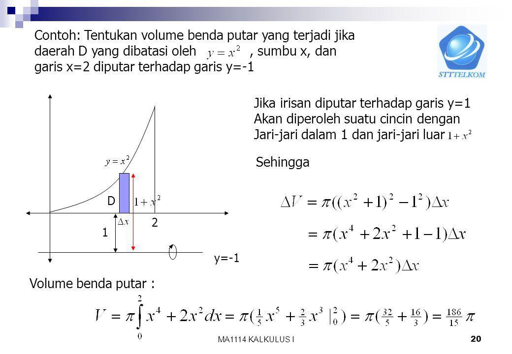 KALKULUS I 19 h(x)h(x) g(x) a b D Untuk menghitung volume benda putar gunakan pendekatan Iris, hampiri, jumlahkan dan ambil limitnya. Jika irisan berb