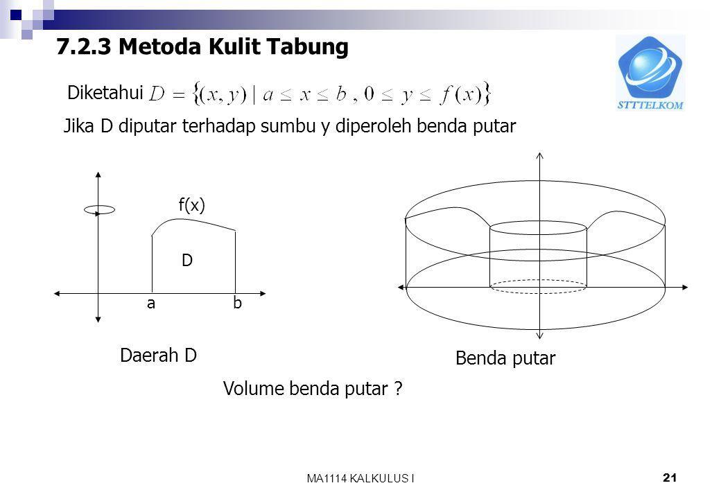 MA1114 KALKULUS I 20 Contoh: Tentukan volume benda putar yang terjadi jika daerah D yang dibatasi oleh, sumbu x, dan garis x=2 diputar terhadap garis y=-1 2 y=-1 1 D Jika irisan diputar terhadap garis y=1 Akan diperoleh suatu cincin dengan Jari-jari dalam 1 dan jari-jari luar Sehingga Volume benda putar :