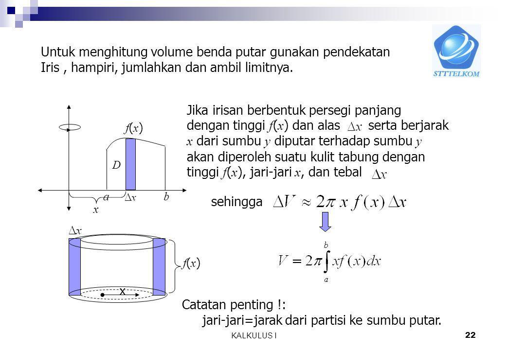 MA1114 KALKULUS I 21 7.2.3 Metoda Kulit Tabung Diketahui f(x) a b D Jika D diputar terhadap sumbu y diperoleh benda putar Daerah D Benda putar Volume