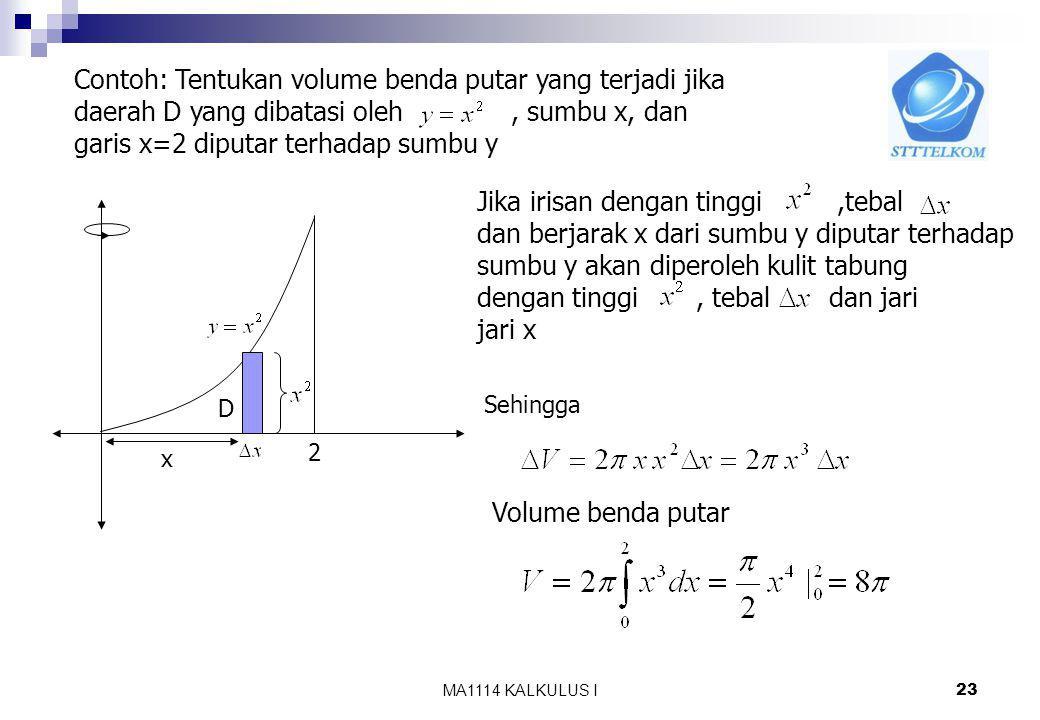 KALKULUS I 22 Untuk menghitung volume benda putar gunakan pendekatan Iris, hampiri, jumlahkan dan ambil limitnya. f(x)f(x) a b D Jika irisan berbentuk