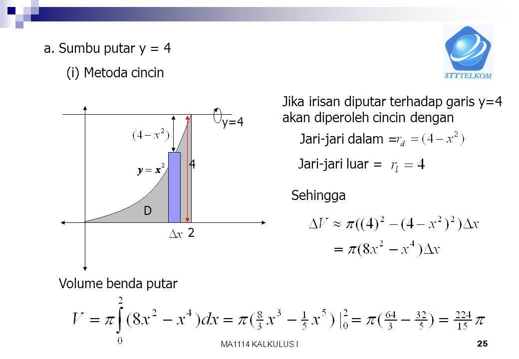 MA1114 KALKULUS I 24 Catatan : -Metoda cakram/cincin Irisan dibuat tegak lurus terhadap sumbu putar - Metoda kulit tabung Irisan dibuat sejajar dengan sumbu putar Jika daerah dan sumbu putarnya sama maka perhitungan dengan menggunakan metoda cakram/cincin dan metoda kulit tabung akan menghasilkan hasil yang sama Contoh Tentukan benda putar yang terjadi jika daerah D yang dibatasi Oleh parabola,garis x = 2, dan sumbu x diputar terhadap a.Garis y = 4 b.