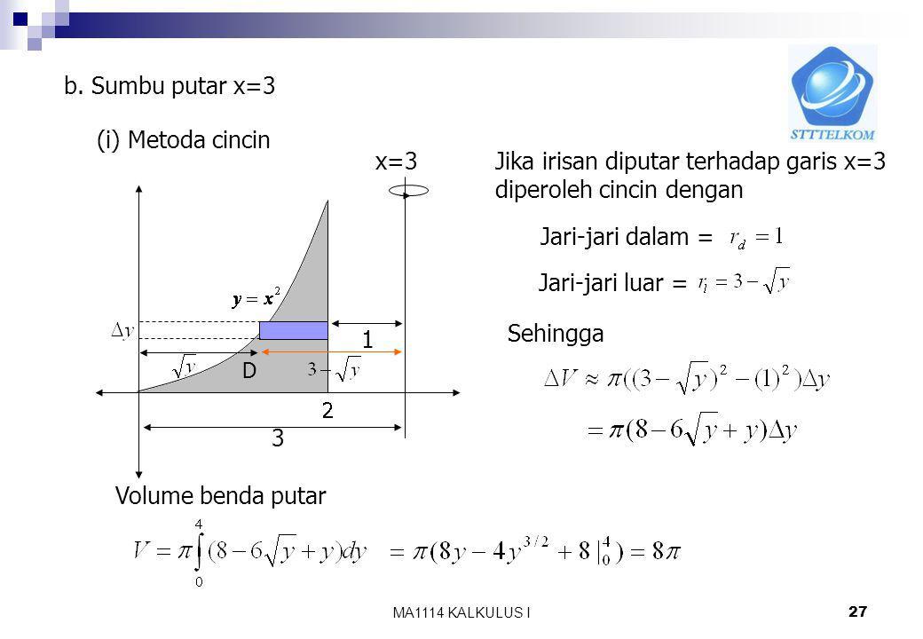 MA1114 KALKULUS I 26 (ii) Metoda kulit tabung 2 D y=4 y Jika irisan diputar terhadap garis y=4 akan diperoleh kulit tabung dengan Jari-jari = r = Tinggi = h = Tebal = Sehingga Volume benda putar