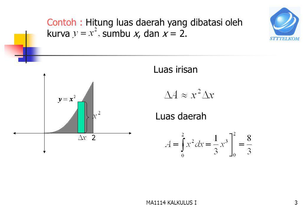 MA1114 KALKULUS I2 7.1 Menghitung Luas Daerah a.Misalkan daerah a b f(x) D Luas D = ? Langkah : 1.Iris D menjadi n bagian dan luas satu buah irisan di