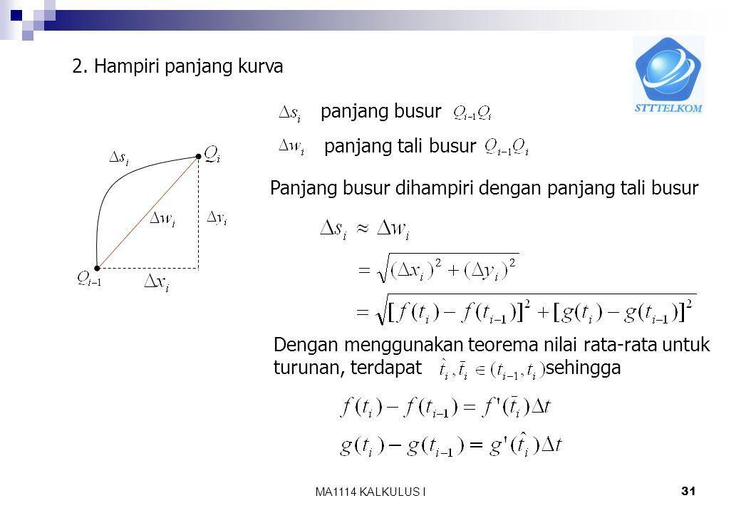MA1114 KALKULUS I 30 Misal diberikan kurva dalam bentuk parameter (1), akan dihitung panjang kurva Langkah 1. Partisi [a,b] menjadi n bagian, dengan t