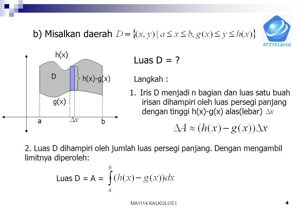 MA1114 KALKULUS I3 Contoh : Hitung luas daerah yang dibatasi oleh kurva sumbu x, dan x = 2. 2 Luas irisan Luas daerah