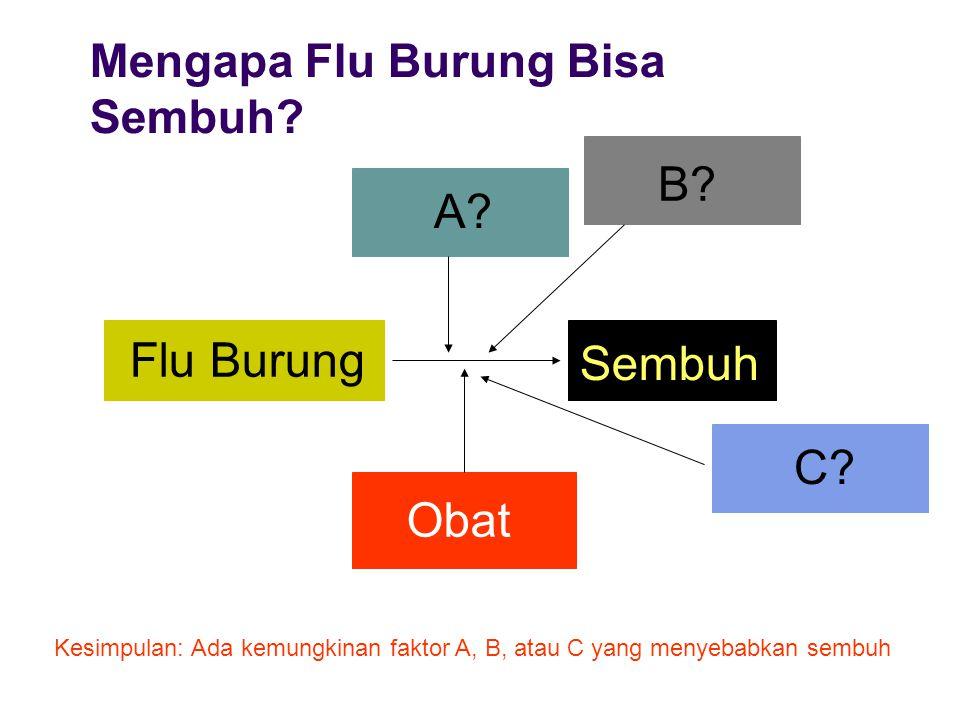 Mengapa Flu Burung Bisa Sembuh? Flu Burung Sembuh Obat Kesimpulan: Ada kemungkinan faktor A, B, atau C yang menyebabkan sembuh B? A? C?