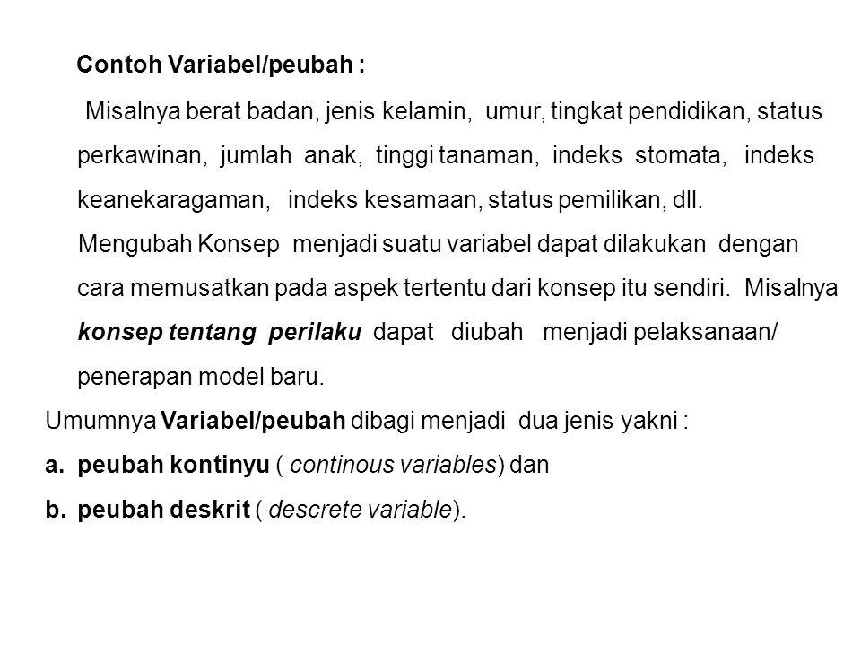 3. Contoh Variabel/peubah : Misalnya berat badan, jenis kelamin, umur, tingkat pendidikan, status perkawinan, jumlah anak, tinggi tanaman, indeks stom