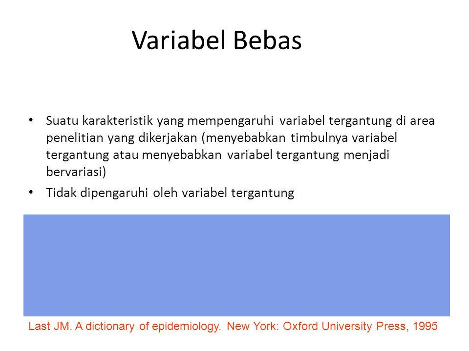 Variabel Bebas Suatu karakteristik yang mempengaruhi variabel tergantung di area penelitian yang dikerjakan (menyebabkan timbulnya variabel tergantung