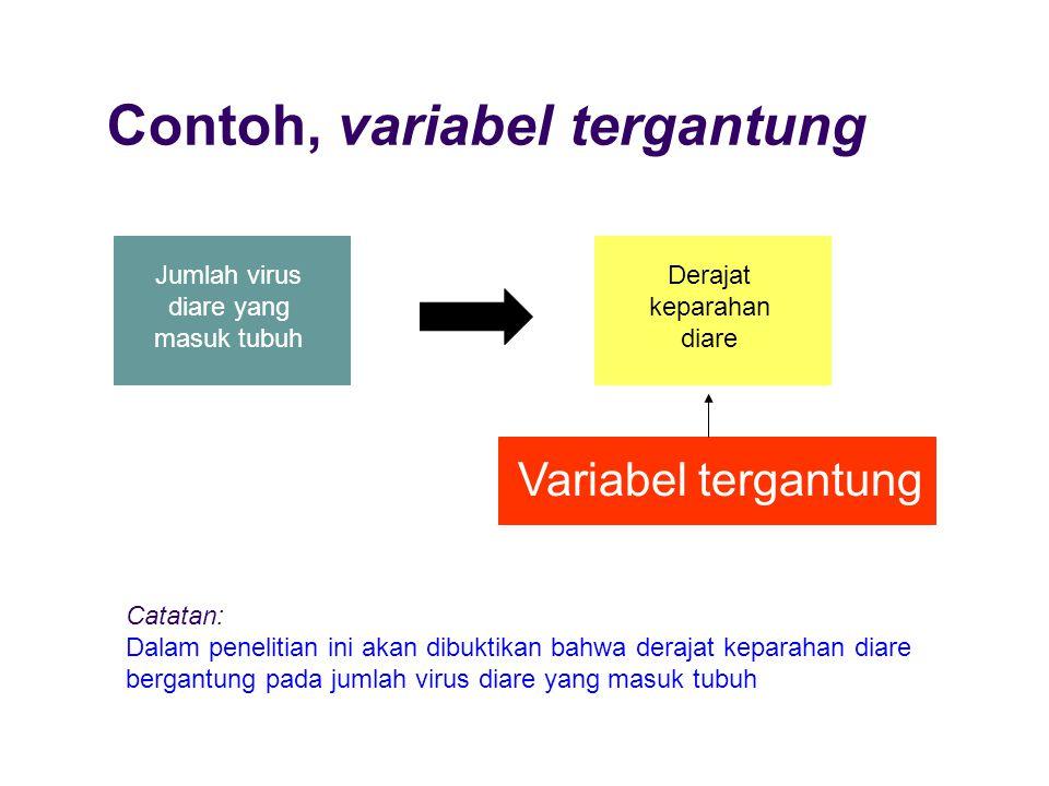 Contoh, variabel tergantung Jumlah virus diare yang masuk tubuh Derajat keparahan diare Variabel tergantung Catatan: Dalam penelitian ini akan dibukti