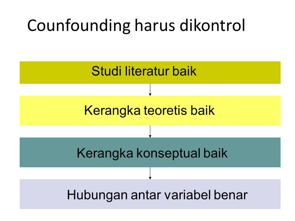 Counfounding harus dikontrol Studi literatur baik Kerangka teoretis baik Kerangka konseptual baik Hubungan antar variabel benar