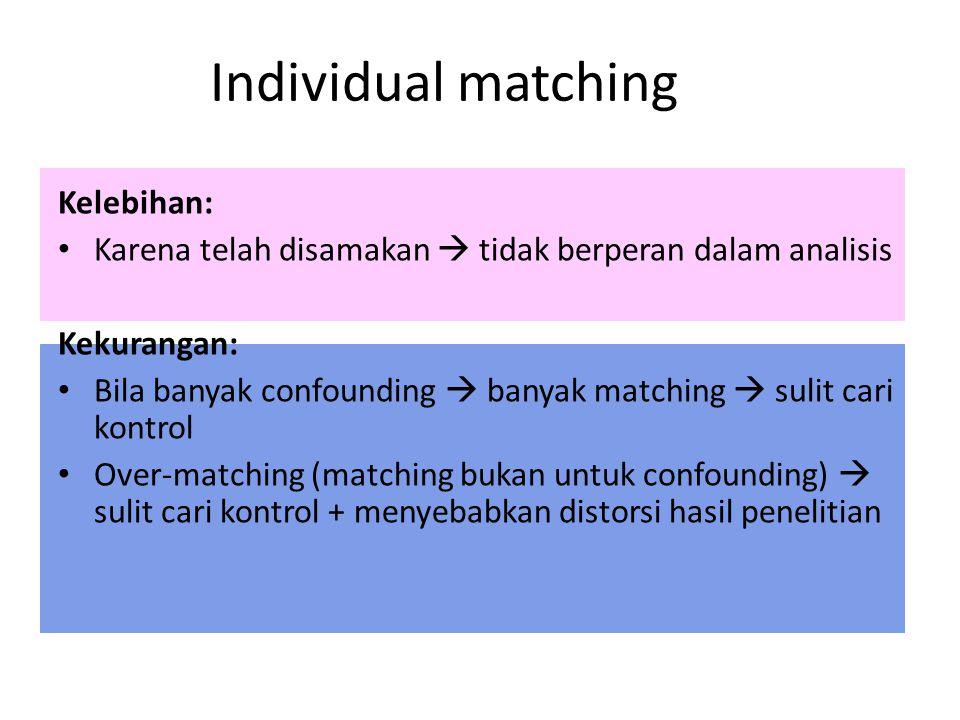 Individual matching Kelebihan: Karena telah disamakan  tidak berperan dalam analisis Kekurangan: Bila banyak confounding  banyak matching  sulit ca