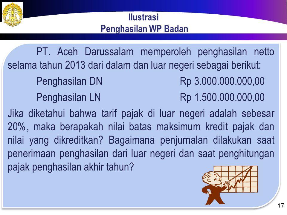 Pencatatan Transaksi PPh 24  Saat menerima penghasilan dari LN, pendapatan akan diakui sebesar seluruh pendapatan.  Pajak yang telah dibayar diangga