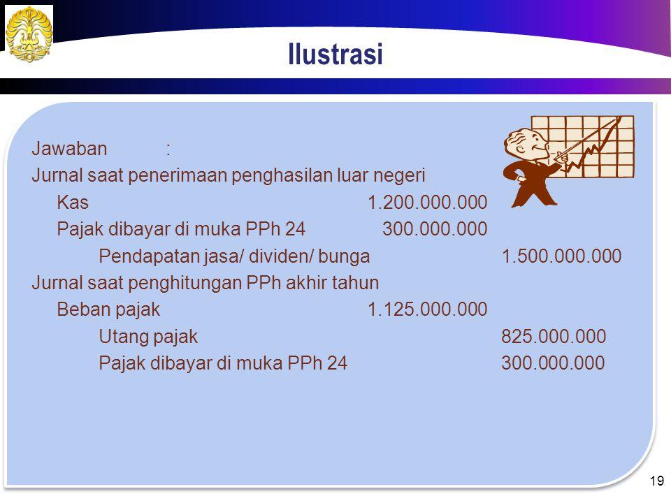 Ilustrasi Jawaban: Penghasilan LNRp 1.500.000.000,00 Penghasilan DNRp 3.000.000.000,00 Total penghasilan nettoRp 4.500.000.000,00 Beban PPh badan= 25%
