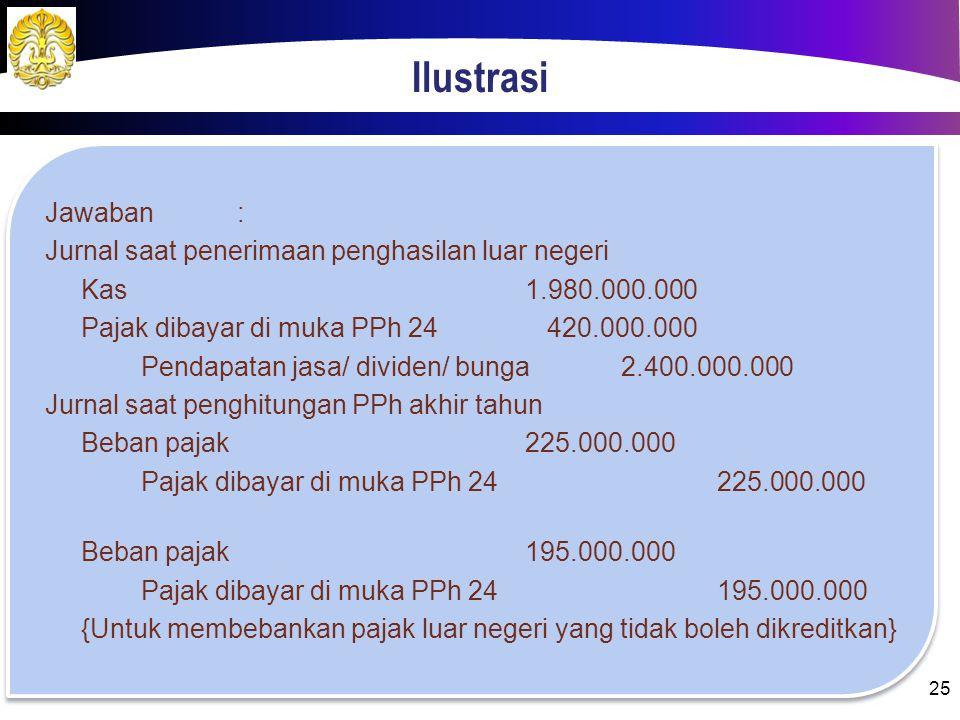 Ilustrasi Jawaban: Penghasilan LNRp 2.400.000.000,00 Rugi fiskal DN(Rp 1.500.000.000,00) Total penghasilan nettoRp 900.000.000,00 Beban PPh badan= 25%