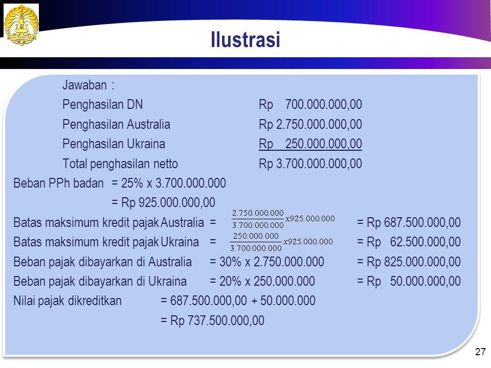 Ilustrasi Penghasilan Beberapa Negara Selama tahun, 2013 PT. Inderapura memperoleh penghasilan netto dari dalam negeri sebesar Rp 700.000.000,00, dari