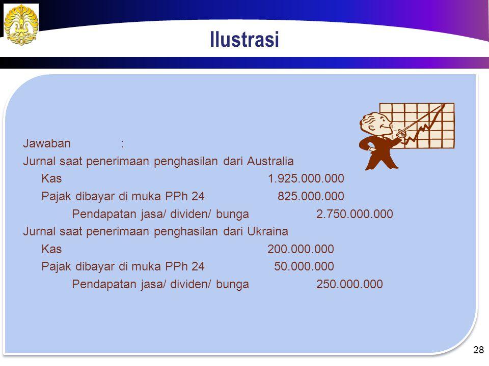 Ilustrasi Jawaban: Penghasilan DNRp 700.000.000,00 Penghasilan AustraliaRp 2.750.000.000,00 Penghasilan UkrainaRp 250.000.000,00 Total penghasilan net