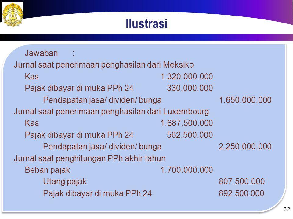 Ilustrasi Jawaban: Penghasilan DNRp 1.300.000.000,00 Penghasilan MeksikoRp 1.650.000.000,00 Penghasilan LuxembourgRp 2.250.000.000,00 Penghasilan Mong