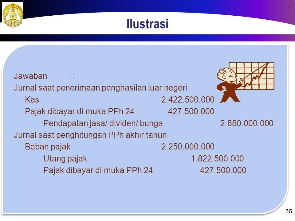 Ilustrasi Jawaban: Penghasilan LNRp 2.850.000.000,00 Penghasilan DNRp 8.750.000.000,00 Penghasilan dikenai PPh Final(Rp 2.600.000.000,00) Total pengha