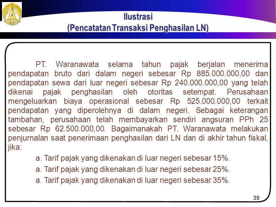 Ilustrasi Jika diketahui bahwa PT. Majapahit memiliki penghasilan dalam negeri sebesar Rp 100.000.000,00, berapakah batas maksimum kredit PPh 24 masin