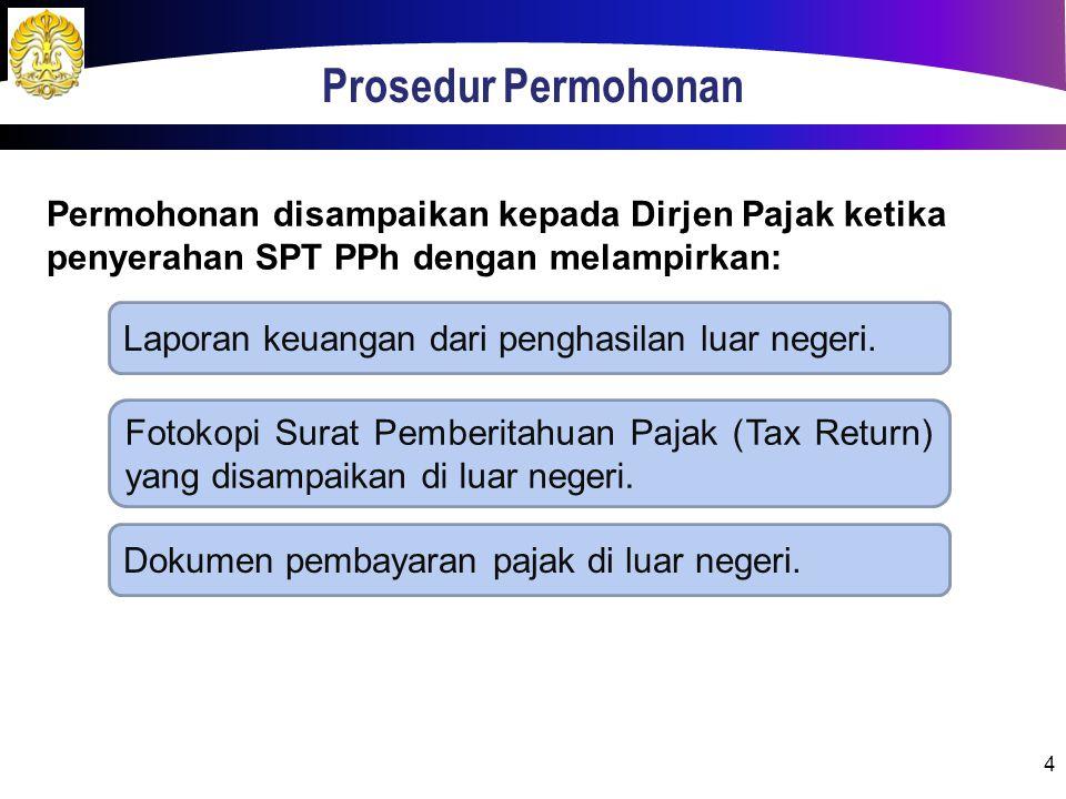 Prosedur Permohonan 4 Permohonan disampaikan kepada Dirjen Pajak ketika penyerahan SPT PPh dengan melampirkan: Laporan keuangan dari penghasilan luar negeri.