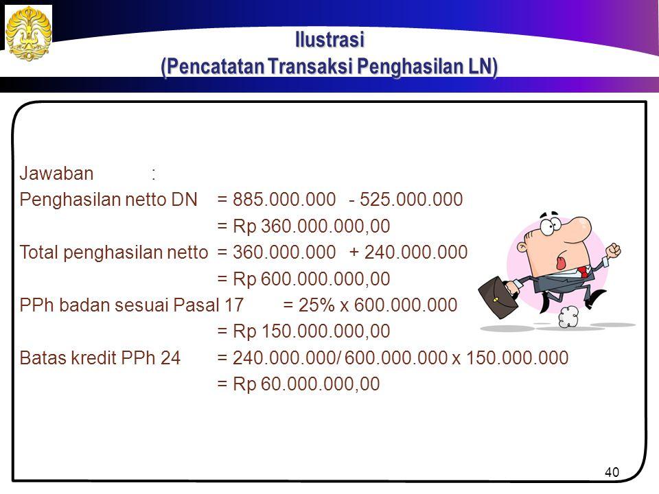 PT. Waranawata selama tahun pajak berjalan menerima pendapatan bruto dari dalam negeri sebesar Rp 885.000.000,00 dan pendapatan sewa dari luar negeri