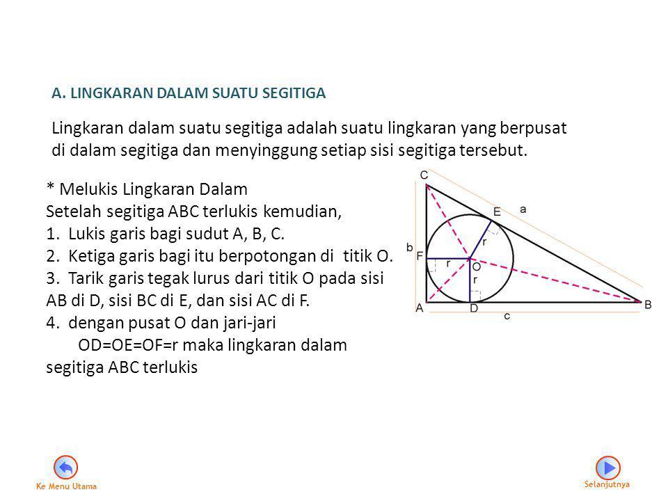 A. LINGKARAN DALAM SUATU SEGITIGA Lingkaran dalam suatu segitiga adalah suatu lingkaran yang berpusat di dalam segitiga dan menyinggung setiap sisi se