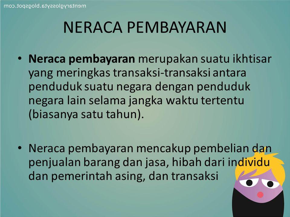 NERACA PEMBAYARAN Neraca pembayaran merupakan suatu ikhtisar yang meringkas transaksi-transaksi antara penduduk suatu negara dengan penduduk negara la