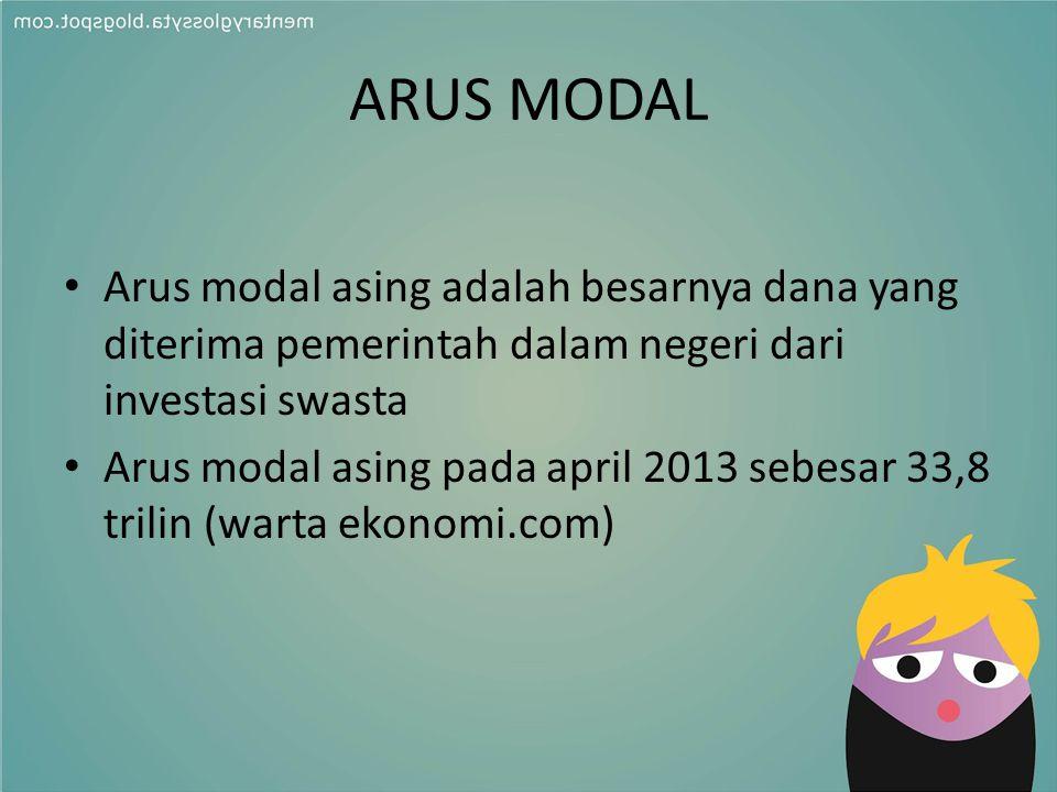 ARUS MODAL Arus modal asing adalah besarnya dana yang diterima pemerintah dalam negeri dari investasi swasta Arus modal asing pada april 2013 sebesar