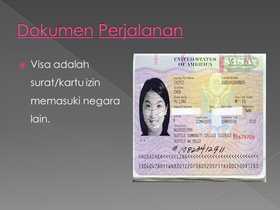  Visa adalah surat/kartu izin memasuki negara lain.