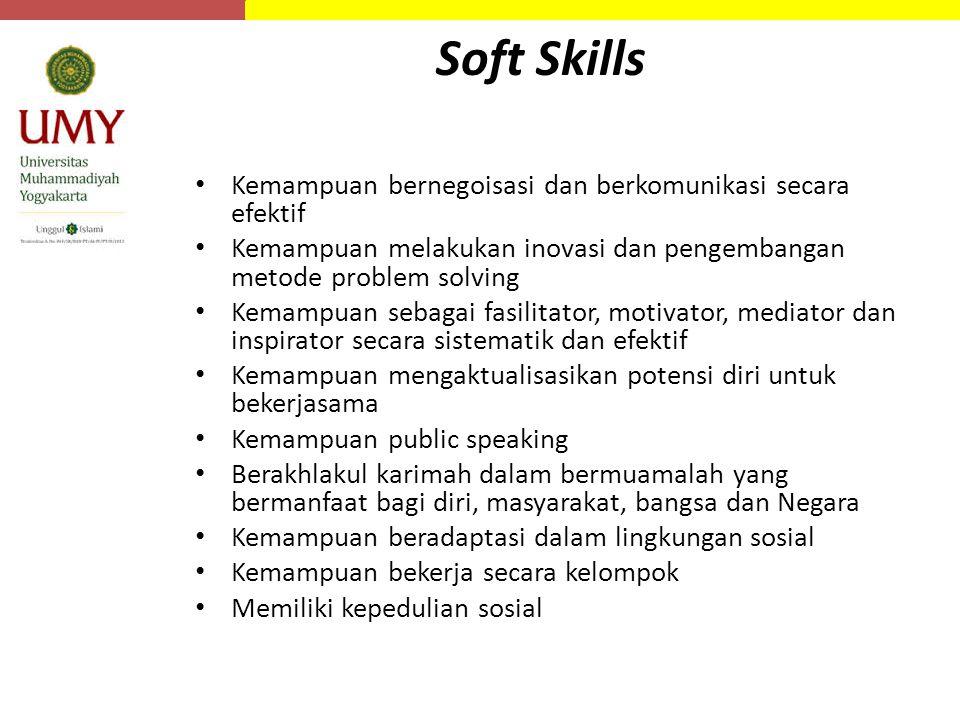 Soft Skills Kemampuan bernegoisasi dan berkomunikasi secara efektif Kemampuan melakukan inovasi dan pengembangan metode problem solving Kemampuan sebagai fasilitator, motivator, mediator dan inspirator secara sistematik dan efektif Kemampuan mengaktualisasikan potensi diri untuk bekerjasama Kemampuan public speaking Berakhlakul karimah dalam bermuamalah yang bermanfaat bagi diri, masyarakat, bangsa dan Negara Kemampuan beradaptasi dalam lingkungan sosial Kemampuan bekerja secara kelompok Memiliki kepedulian sosial