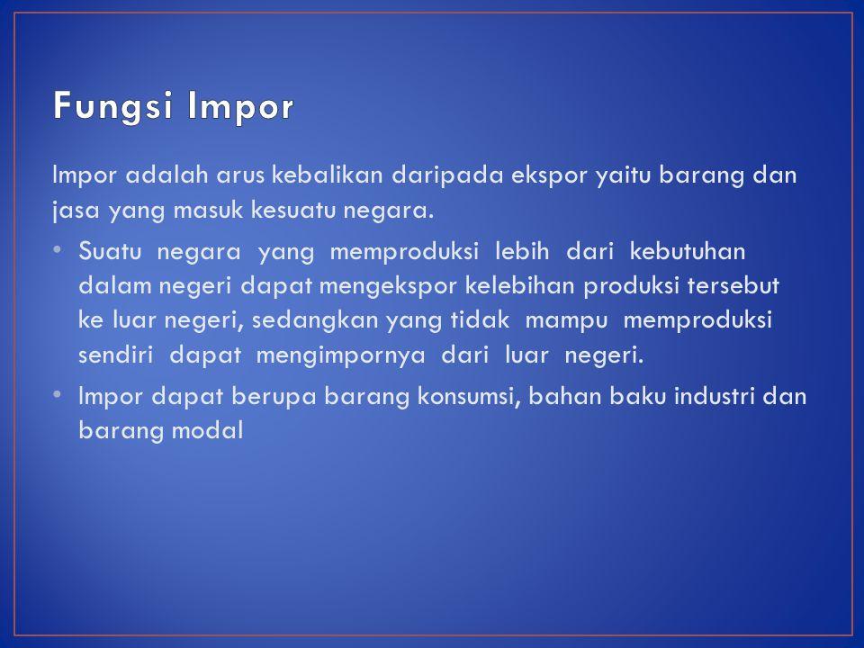 Impor adalah arus kebalikan daripada ekspor yaitu barang dan jasa yang masuk kesuatu negara.