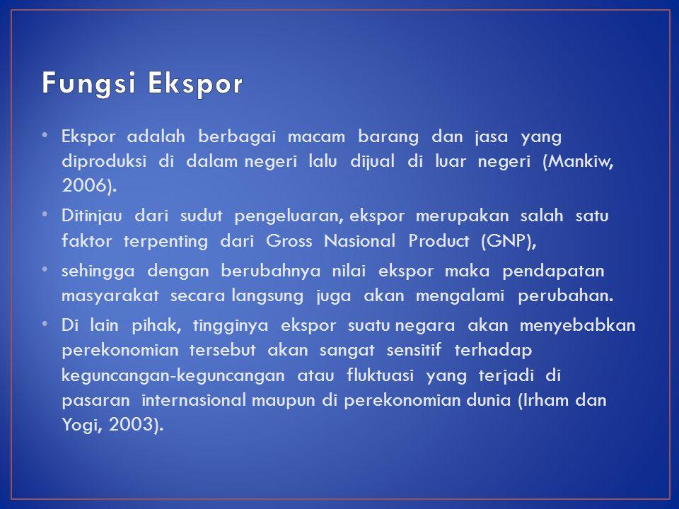 Ekspor adalah berbagai macam barang dan jasa yang diproduksi di dalam negeri lalu dijual di luar negeri (Mankiw, 2006).