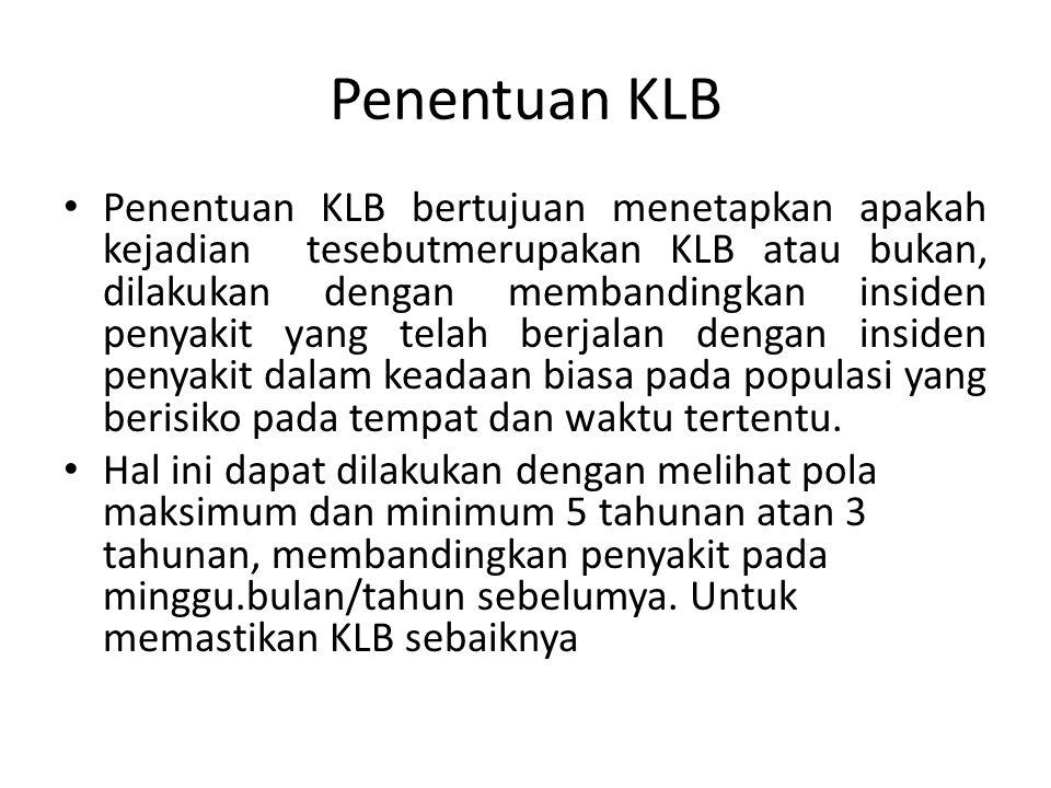 Penentuan KLB Penentuan KLB bertujuan menetapkan apakah kejadian tesebutmerupakan KLB atau bukan, dilakukan dengan membandingkan insiden penyakit yang