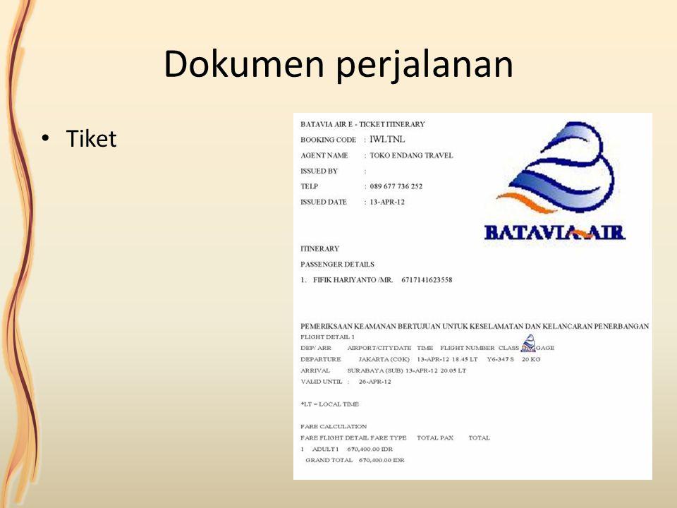 Dokumen perjalanan Tiket