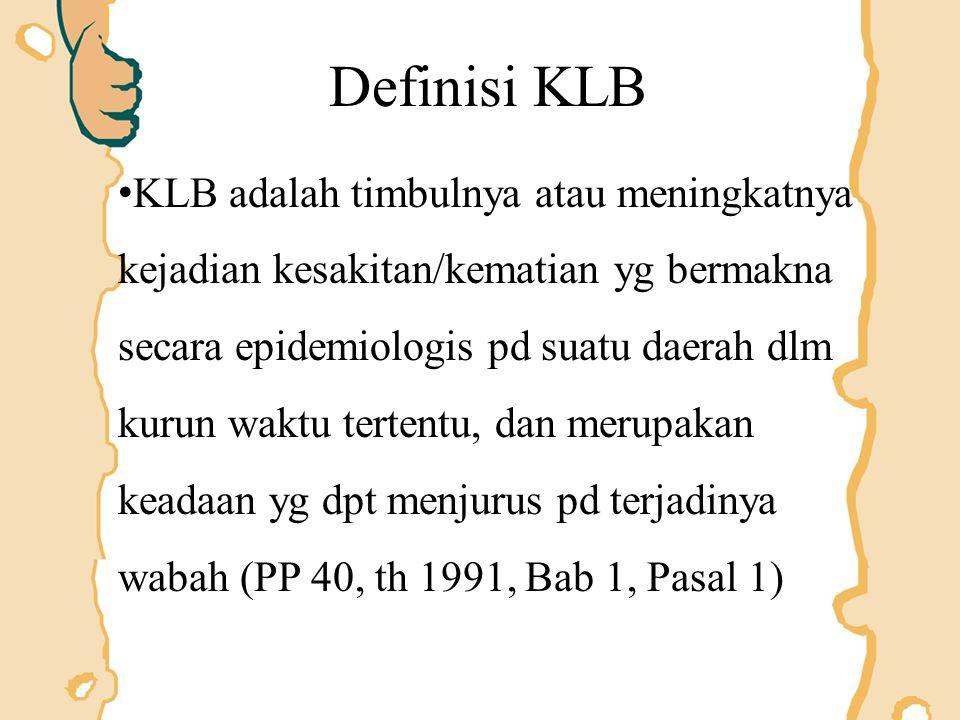 Selain kata wabah letusan (outbreak) kejadian luar biasa (KLB = unusual event) Di Indonesia pernyataan adanya wabah hanya boleh ditetapkan oleh Menteri Kesehatan