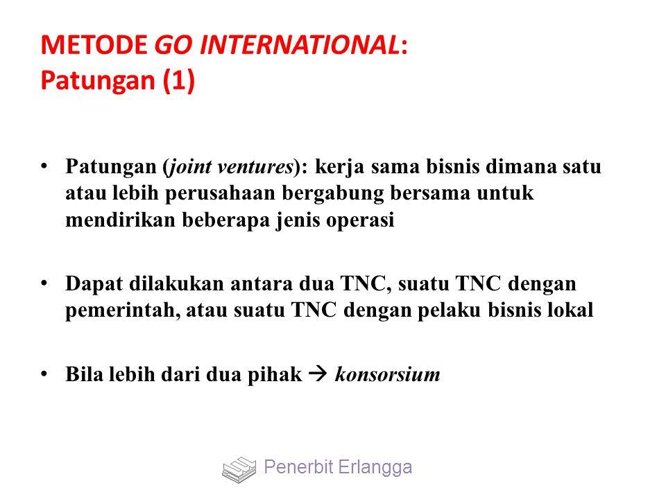 METODE GO INTERNATIONAL: Patungan (1) Patungan (joint ventures): kerja sama bisnis dimana satu atau lebih perusahaan bergabung bersama untuk mendirika